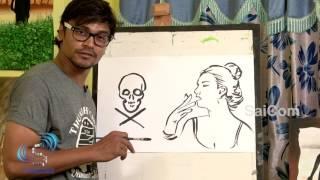 How To Draw Danger Smoking Women || Harrsha Art || Saicom