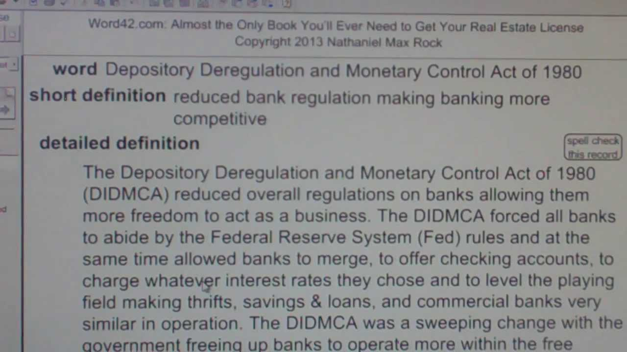 Depository Deregulation and Monetary Control Act of 1980