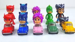 PijaMaskeli Kafalar Arabanın Üzerinde Yarışıyorlar - Pj Masks Heads Cars