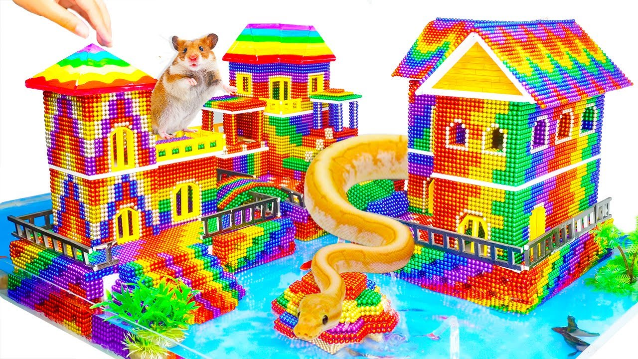 DIY - Build Mega Villa House Has Pool For Python Snake And Hamster With Magnetic Balls (Satisfying)
