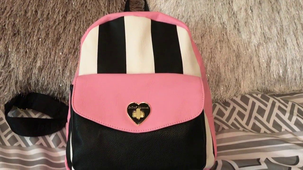 What S In My Betsey Johnson Adorable Pink Backpack Purse Bag