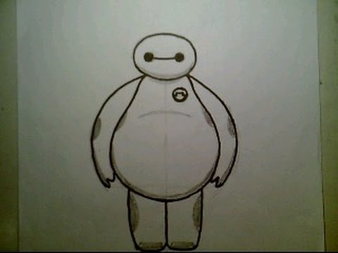how to draw baymax from big hero 6 disney animated movie easy cute mini style