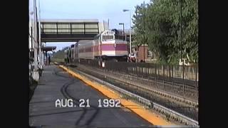 Amtrak & MBTA EMD F40 action at Rt.128 station Dedham,MA 08/21/1992
