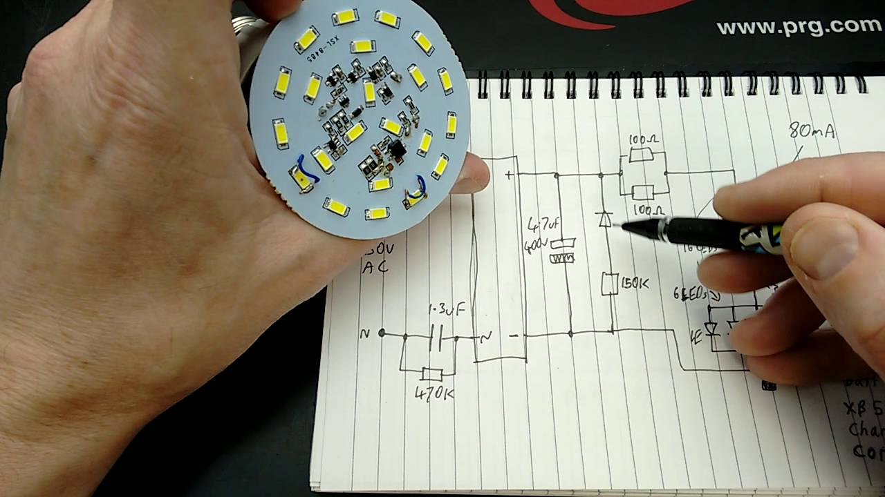 Inside An Intelligent Emergency Lamp With Schematic Youtube How To Make A Simplest Compact 1 Watt Led Driver Circuit At 220v 110v