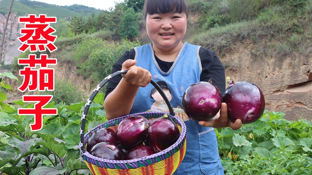 """【陕北霞姐】家里的茄子多的吃不完,霞姐自创新做法""""肉沫蒸茄子"""",太美了,妹妹说要天天都吃!"""