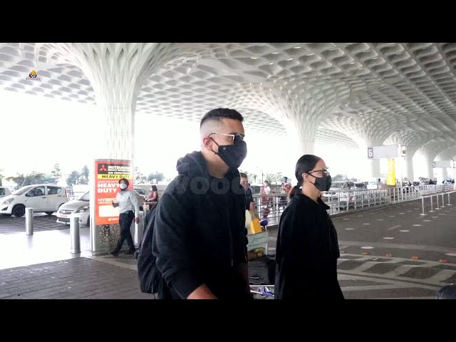 Neha Dhupia & Husband Angad Bedi Spotted At Airport