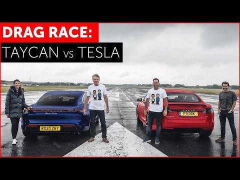 2020 Porsche Taycan Turbo Vs Tesla Model S Drag Race