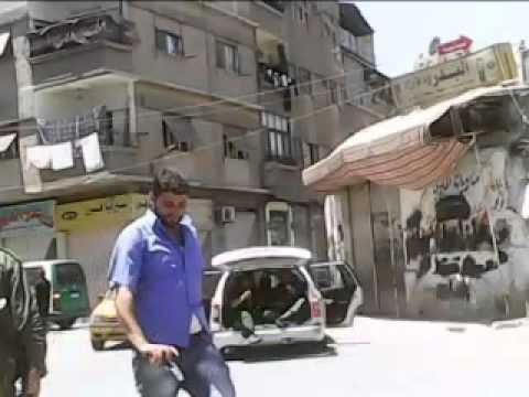 دمشق جوبر انتشار كتائب الأسد و حصار مسجد حذيفة  01 06 2012
