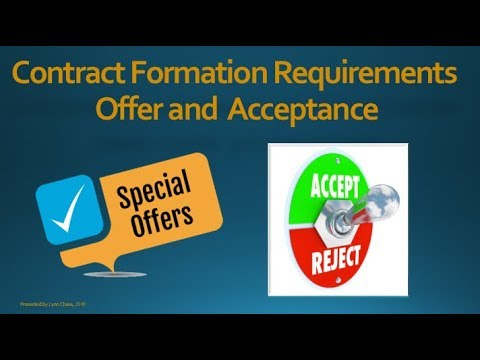 Contract Formation Requirements  Offer  Acceptance  Youtube