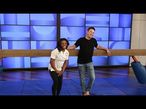 'Average Andy' with Simone Biles