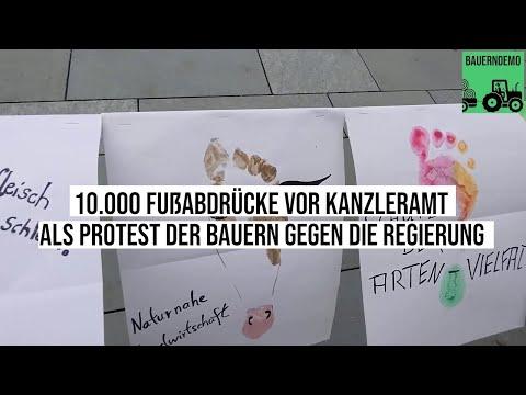 #Kanzleramt: 10.000 Fußabdrücke der Bauern als Protest gegen die Regierung #Lockdown #WirHabenEsSatt