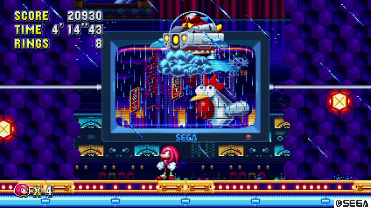 Sonic Mania Studiopolis Zone Act 2 Boss as Knuckles
