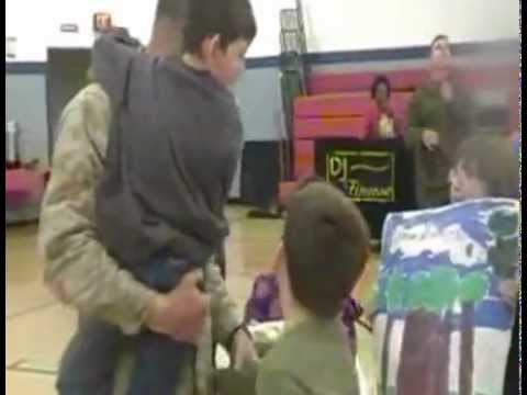 Boy Walks To U.S. Marine Father For First Time