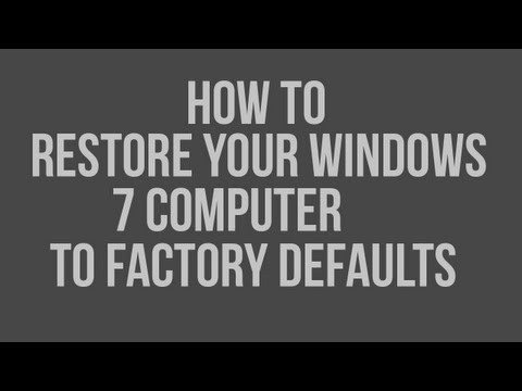 How To Restore Factory Settings Works On Any Windows