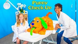 Assistant Plays with Play Doh Dog Check Up Doctor Video