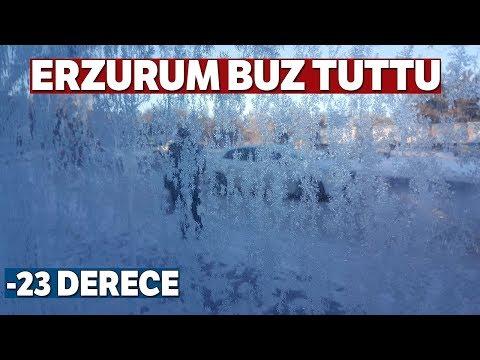 Erzurum'da Hayat Dondu.. Sıcaklık Eksi 15 Dereceye Düştü