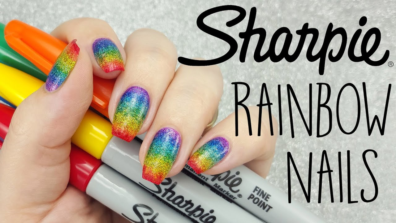 Rainbow Glitter Sharpie Nail Art - YouTube