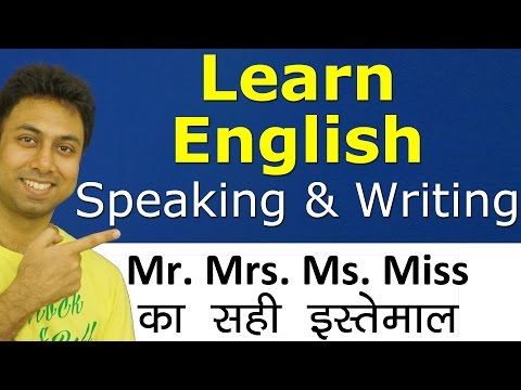 Learn English Speaking & Writing through Hindi | Correct Use of Titles Mr Mrs Ms Miss With Examples