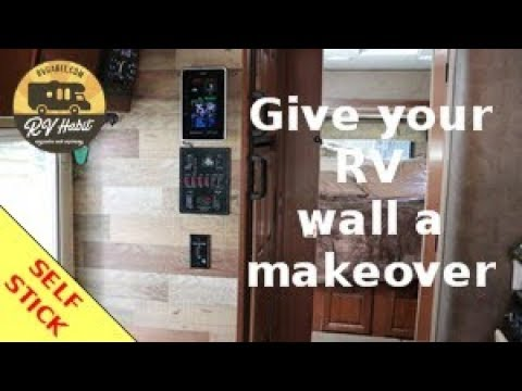 Rv Wall Makeover Faux Wood Panels Self Stick How To And Review Youtube