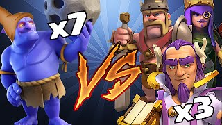 Clash Of Clans - BOWLER vs. 3 HEROES! 3 STAR!! (WiGOBOWLIN Composition)