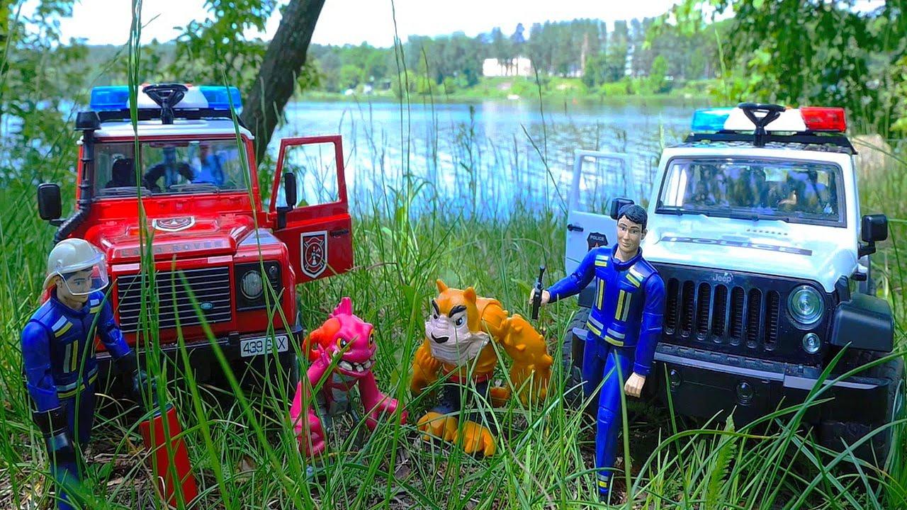 Пожарный с Полицейским и спасение острова от пожара - ВИДЕО ДЛЯ ДЕТЕЙ