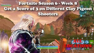 "Fortnite Season 6 Week 8 ""Get a Score of 3 on Different Clay Pigeon Shooters"" ALL Locations!"
