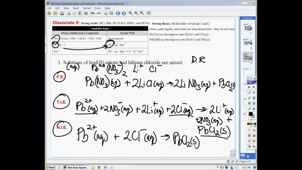 Net Ionic Equations worksheet problems YouTube – Writing Net Ionic Equations Worksheet