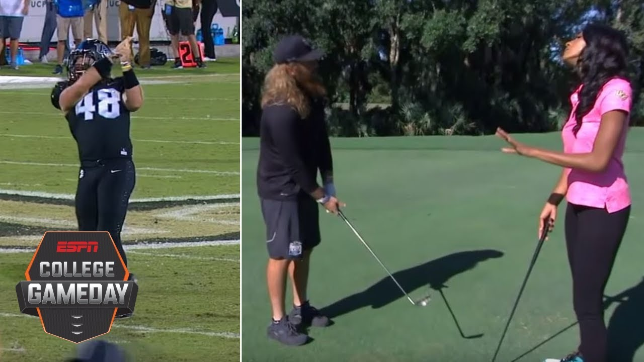 UCF punter Mac Loudermilk teaches Maria Taylor proper celebration techniques | College GameDay