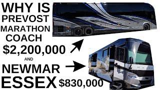 WHY IS PREVOST MARATHON COACH $1.5 MIL MORE THEN NEWMAR ESSEX?