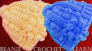 Repeat youtube video Como tejer gorro boina a Crochet o Ganchillo  en doble punto relieve