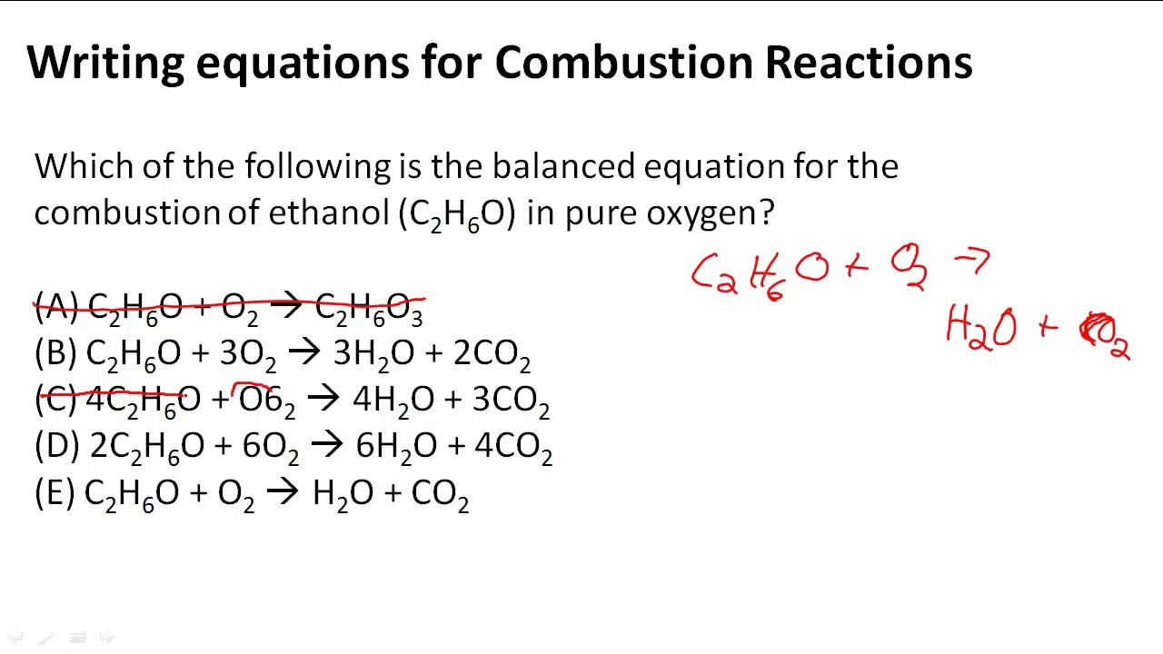 combustion reaction of ethanol - 1280×720