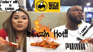Buffalo Wild Wings blazin' hot wing challenge!!!! Whoever loses has to...