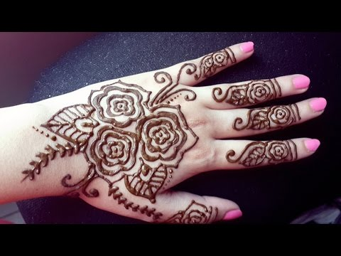 Mehndi Designs Rose : Beautiful rose henna design easy roses mehendi youtube