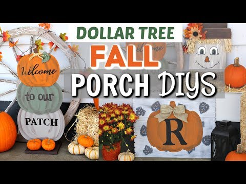 DIY DOLLAR TREE FALL PORCH DECOR | DIY FALL PORCH Dollar Tree | Krafts by Katelyn