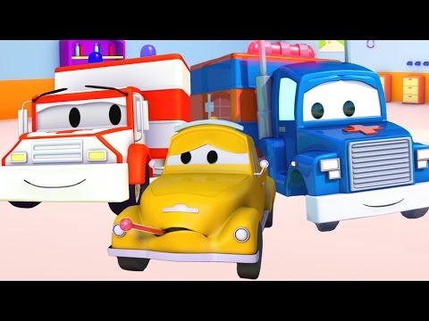 Carl Transform and the Ambulance help Tom The Tow Truck in Car City | Trucks cartoons for kids