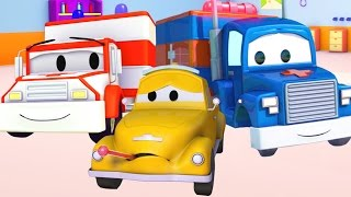 Carl Transform and the Ambulance help Tom The Tow Truck in Car City | Trucks cartoons for kids 🚑 🚒