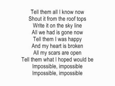 Impossible  Shontelle acoustic guitar instrumental  with lyrics