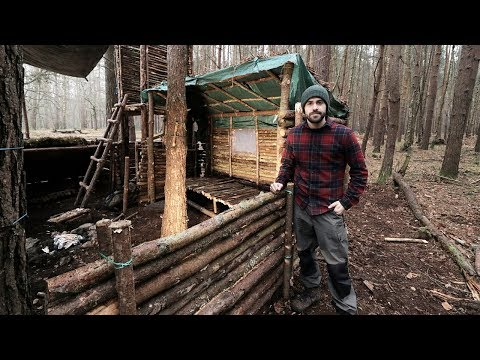 Bushcraft Camp: Full Super Shelter Build from Start to Finis