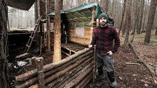 Bushcraft Camp: Full Super Shelter Build from Start to Finish. thumbnail