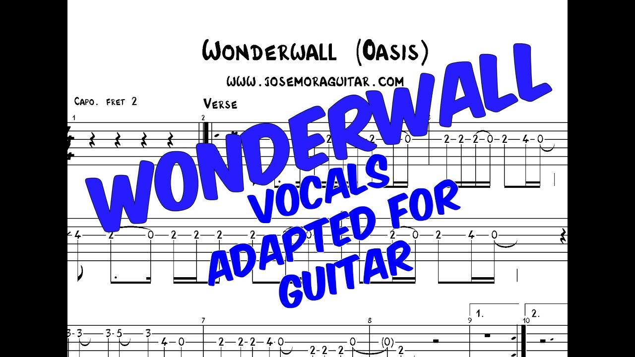 Wonderwall (Oasis), Vocal Melody adapted for Guitar (TAB)