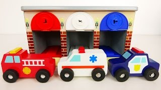 fire truck police car ambulance emergency vehicles with garage playset for kids