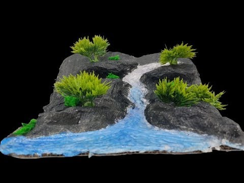 River waterfall from hot glue gun and aluminium foil || Showpiece for home decoration @Gkcraft