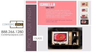 Isabella Wall Unit W Mirrored Display Glass Shelves And Lighting | Item #: 28355