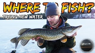 ICE FISHING PIKE IN NEW WATER! How to find the right spot with Deeper Sonar?! | Team Galant