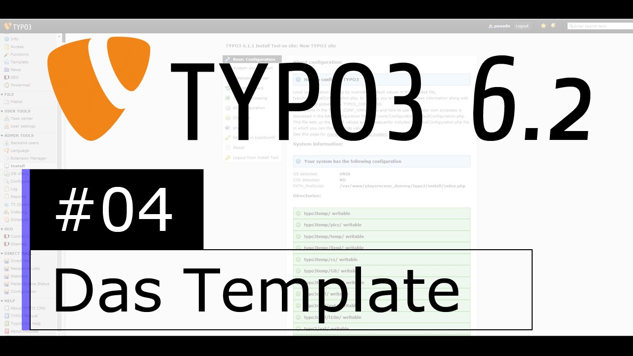 Tutorial: TYPO3 6.2 - Das Template - YouTube