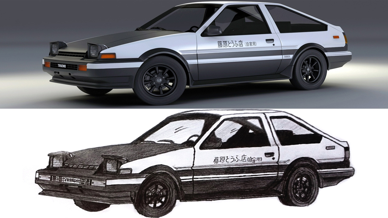 pencil drawing toyota ae86 initial d youtube