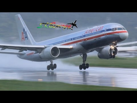 American Airlines 757-200 In Awesome RB211 Action @ St Kitts R.L.B Int'l Airport