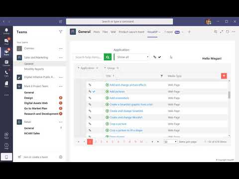Office 365 training content in Microsoft Teams using VisualSP app