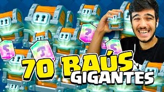 ABRINDO 70 BAÚS GIGANTES NO CLASH ROYALE !! 34 MIL GEMAS !!