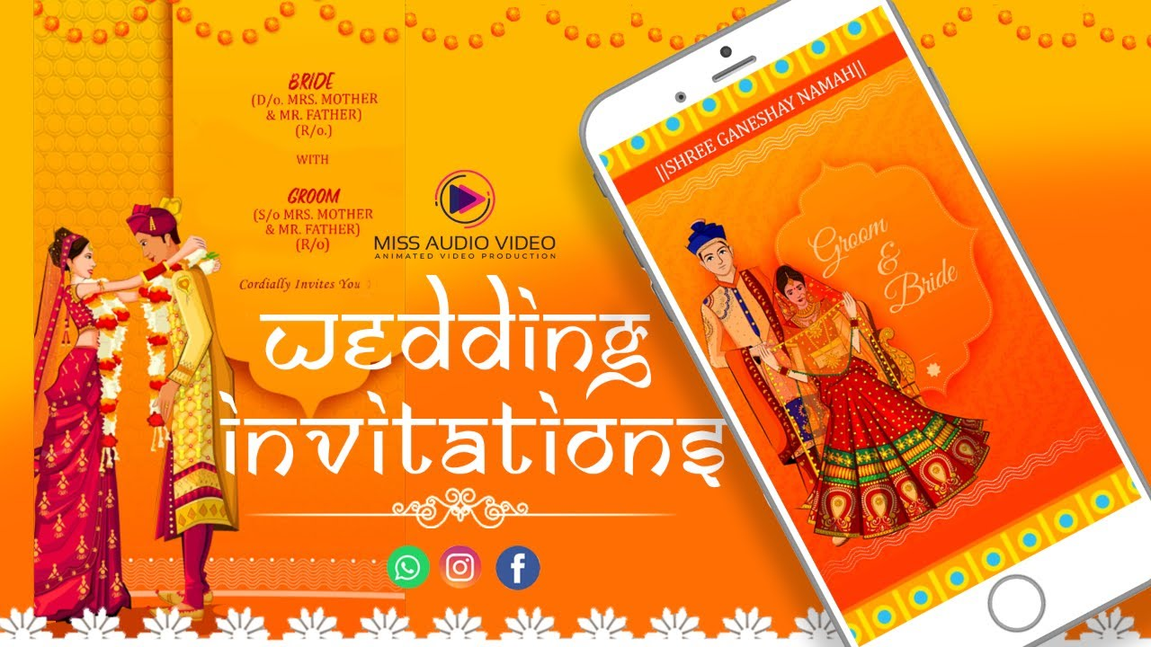 Best Indian Wedding Invitation Video For Whatsapp Digital Marriage Invitation Cards